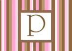 Stripe - pink and brown initial