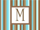 Stripe - teal and brown initial
