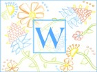 blue floral initial