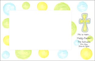 Blue Green Easter Cross Photo Card