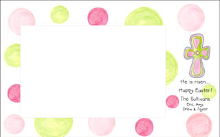 Pink Green Easter Cross Photo Card