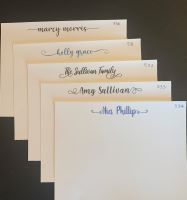 Note Cards - Name Notes Flat Fonts with tails